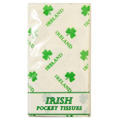 Pocket Sized Irish Tissues With Shamrock Design  10 Per Pack