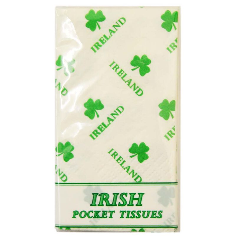 Pocket Sized Irish Tissues With Shamrock Design  10 Per Pack