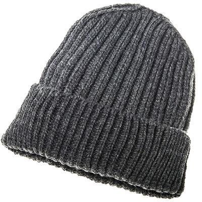 100% Merino Wool Ribbed Aran Hat, Charcoal Colour