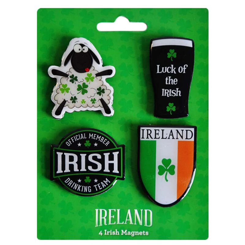 4 Pack Of Magnets Irish Tri Colour  Irish Drinking Team Member  Pint And Sheep