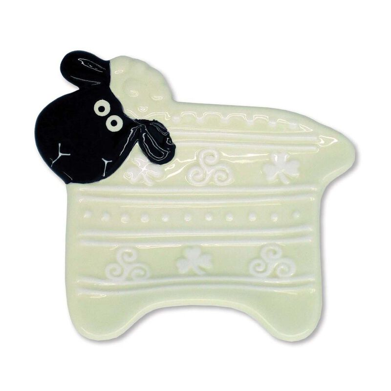 Ireland Woolly Ware Cute Smiling Ceramic Sheep Tea Bag Holder
