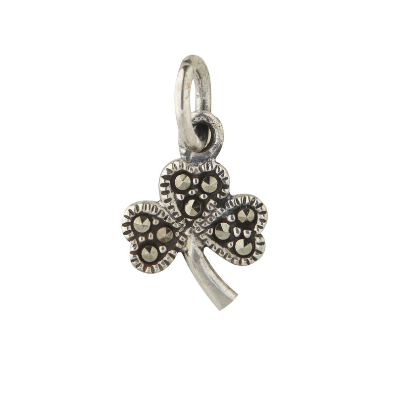 Hallmarked Sterling Silver Shamrock Pendant With Marcasite Stones