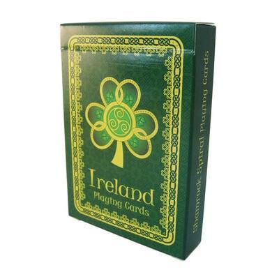 Irland-Spielkarten mit Kleeblatt  Spirale und grünem  keltischem Muster