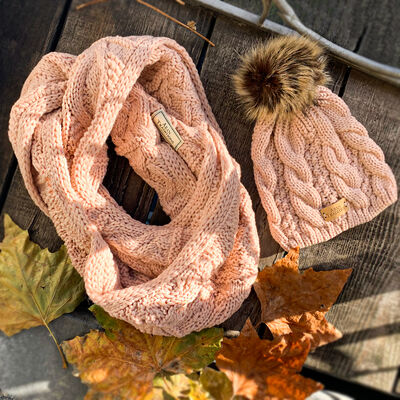 Aran Traditions Knitted Style Cable Design Snood, Blush Colour