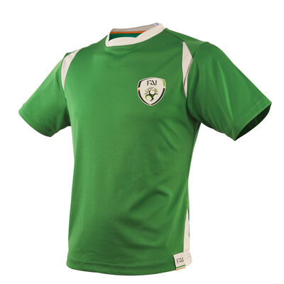 Retro Designed Ireland Football Crew Neck Polly T-Shirt, Green Colour