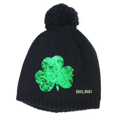 Black Kids Knitted Bobble Hat With Sequins Designed Shamrock