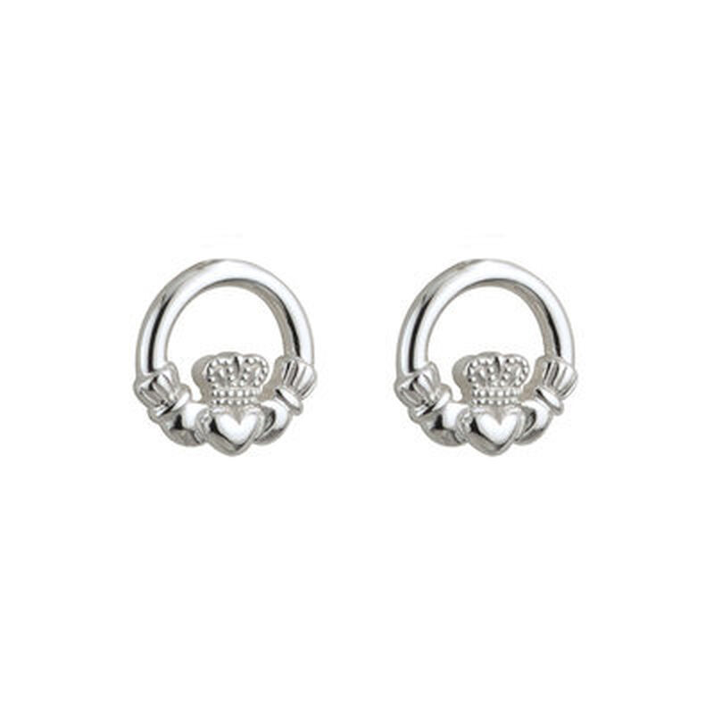Hallmarked Sterling Silver Kid's Claddagh Earrings