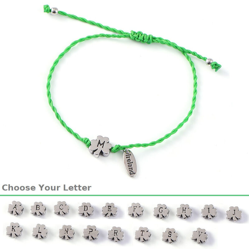 Irish String Bracelet With Shamrock Charm With Initial  Choose Letter