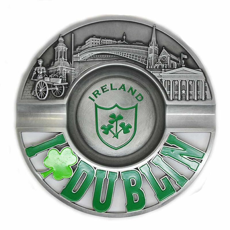 Metal 13cm Dublin Ashtray With Shamrock Design and Embossed Dublin Landmarks