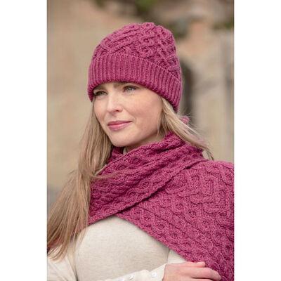100% Super Soft Merino Wool Heart Designed Hat Scarf Set, Magenta Colour