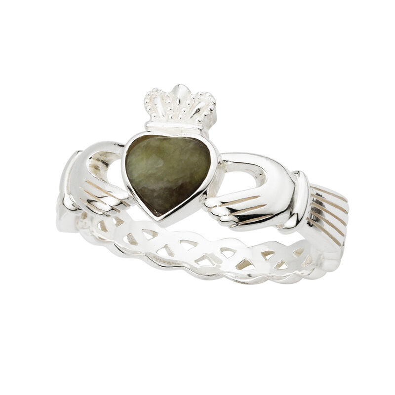 Ladies Hallmarked Sterling Silver Claddagh Ring With Connemara Marble Stone