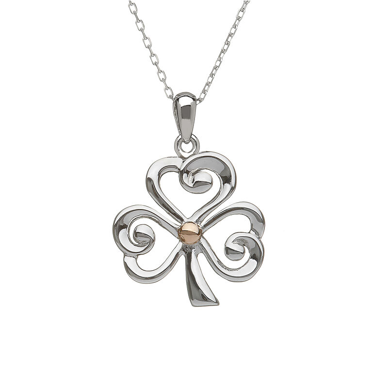 Hallmarked Sterling Silver Open Shamrock Pendant With Rose Gold
