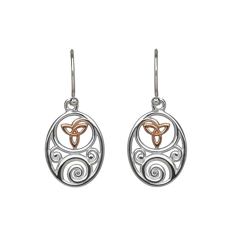 Hallmarked Sterling Silver Trinity Knot Drop Earrings