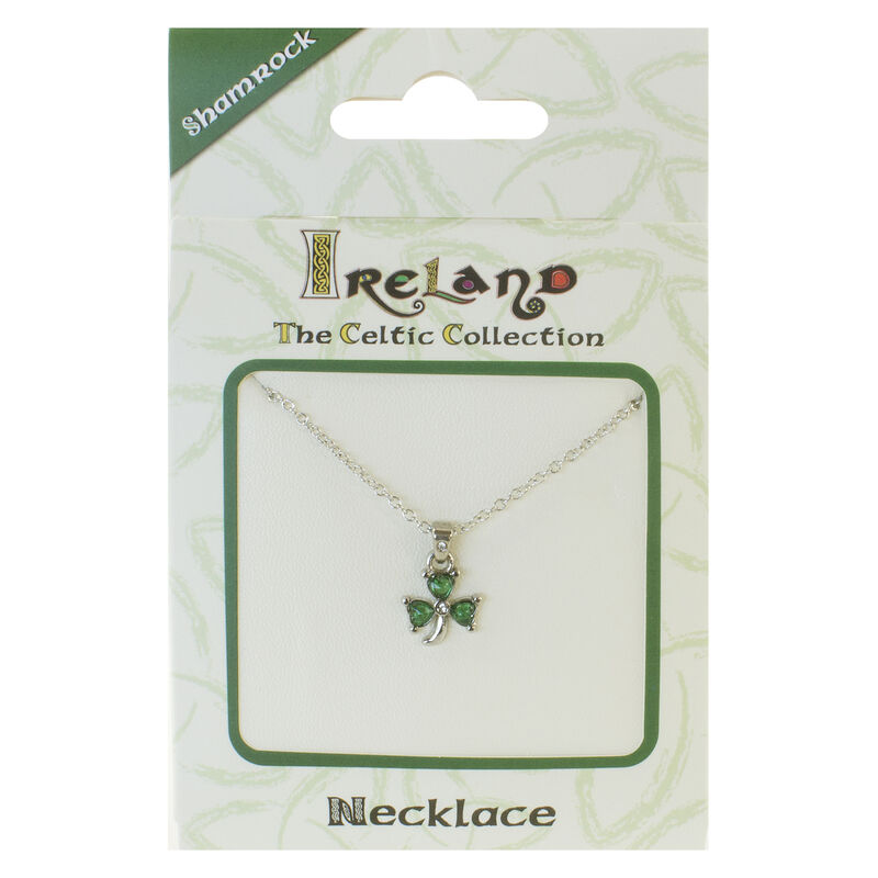 Silver Plated Celtic Collection Pendant with Shamrock and Green Stones