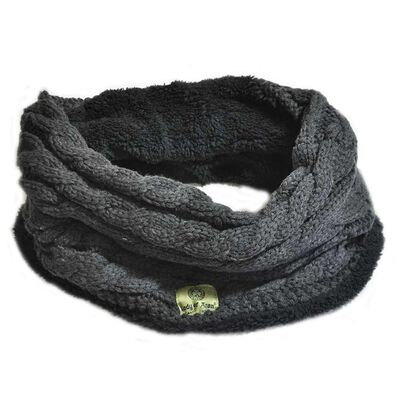Lady Of Aran Snood With Cable Design And Fleece Lining  Dark Grey Colour