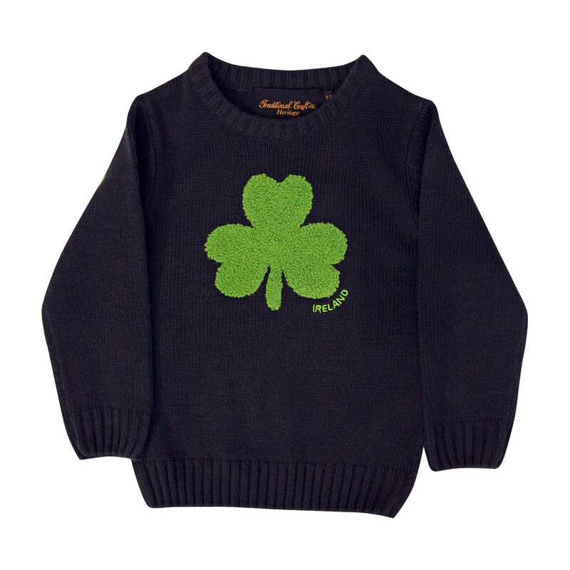 Round Neck Ireland Kids Sweater with Fluffy Shamrock  Navy Colour