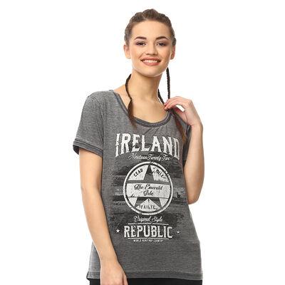Dunkelgraues Ireland Republic-Damen-T-Shirt mit Stern-Design und Cead Mile Failte-Text