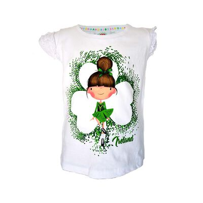 White T-Shirt With Irish Dancer and Frill Shamrock Design