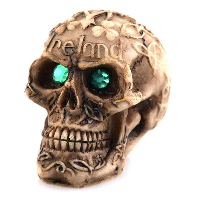 Mini Irish Designed Celtic Skull With Sparkly Green Gem Eyes Design