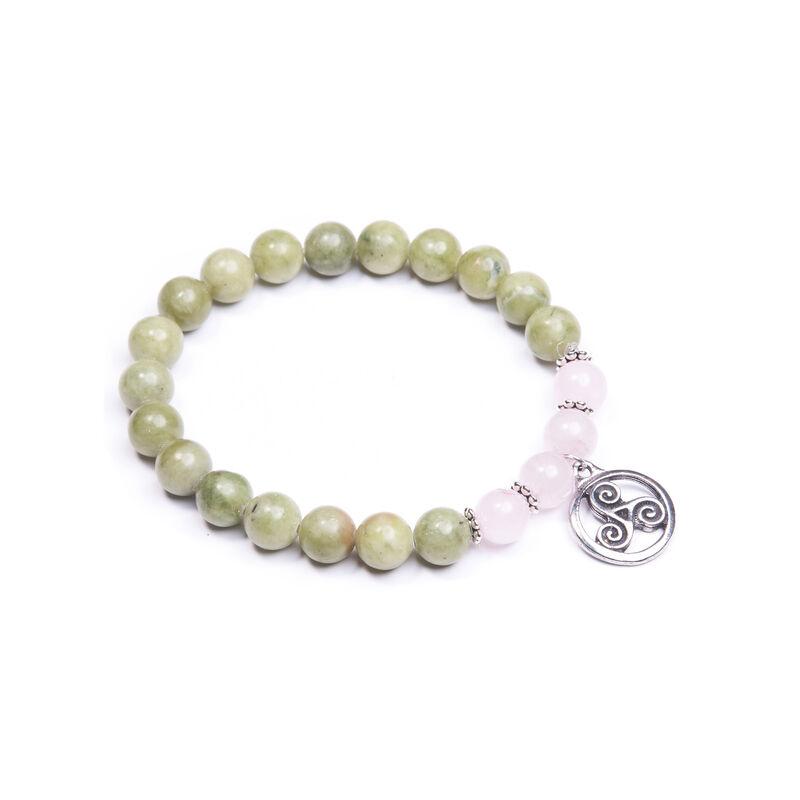Rose Quartz Connemara Marble Triskelion Knot Charm bracelet  Handmade In Ireland