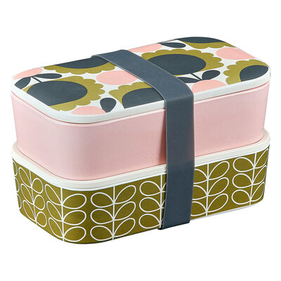 Orla Kiely Scallop Flower Forest Designed Bamboo 2 Tier Lunch Box