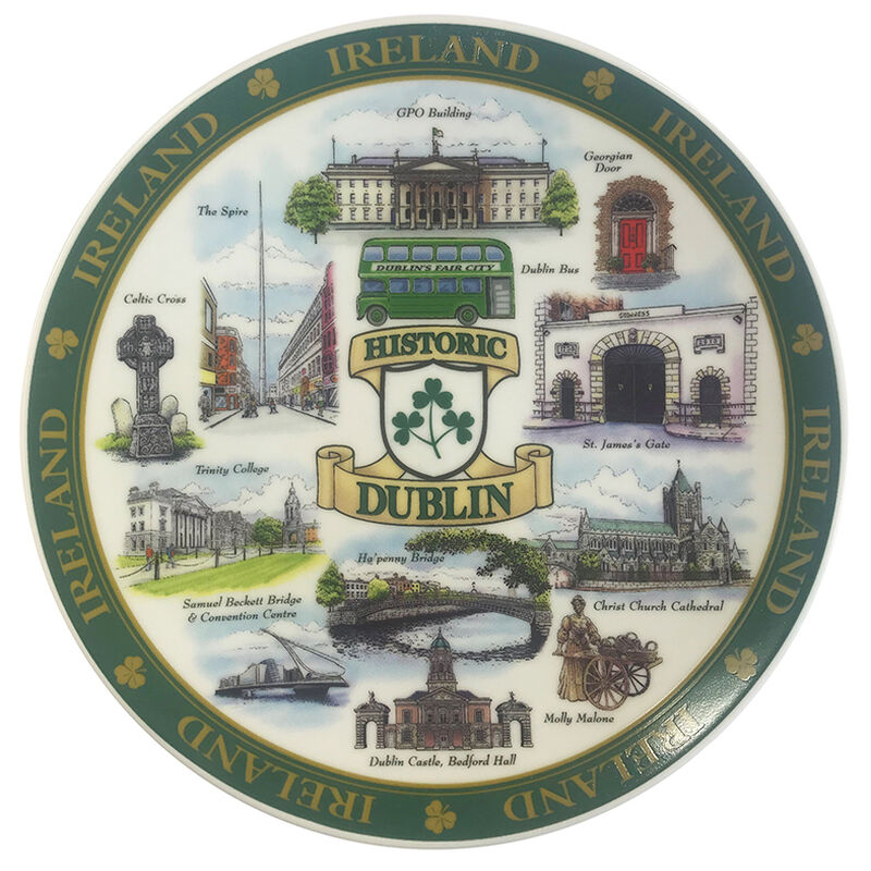 Dublin Designed Ceramic 15Cm Plate Of Famous And Historic Landmarks