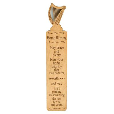 Wooden Irish Bookmark With Harp Design And Irish Home Blessing