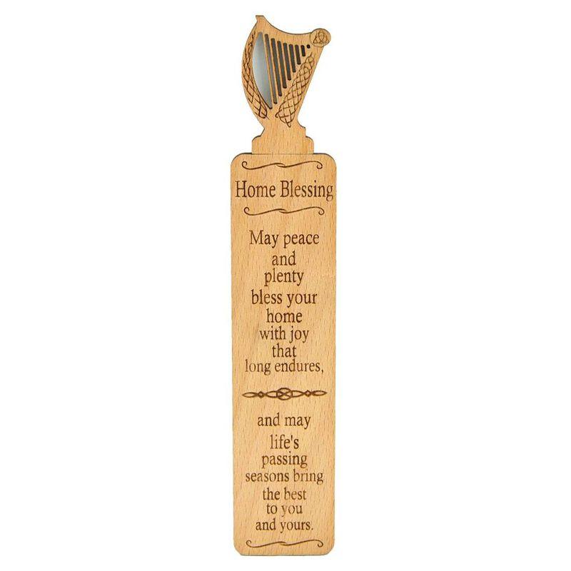Wooden Irish Bookmark With Harp Design And Irish Home Blessing