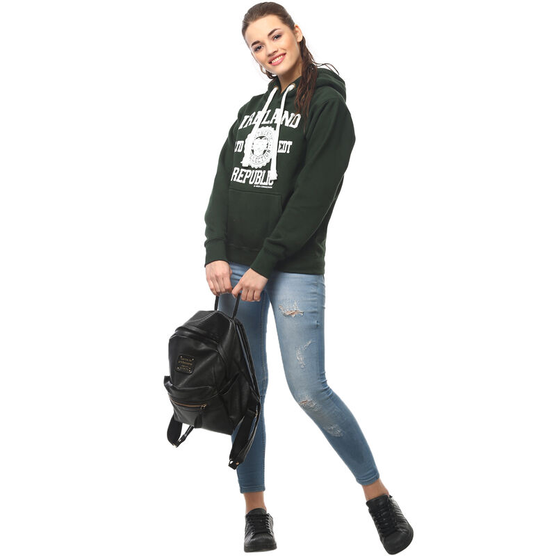 Pullover Hoodie With Ireland Republic LTD EDT Varsity Shield  Green Colour