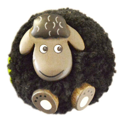 Black Fluffy Sheep With Shamrock Handmade Natural Wood Magnet