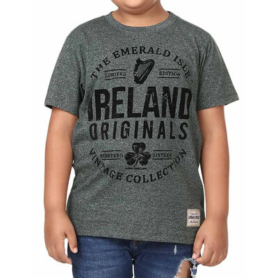 Ireland Originals Emerald Isle Kids T-Shirt With Green Grindle Yarn Design