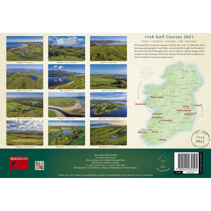 A4 Irish Golf Courses 2021 Calendar by Liam Blake