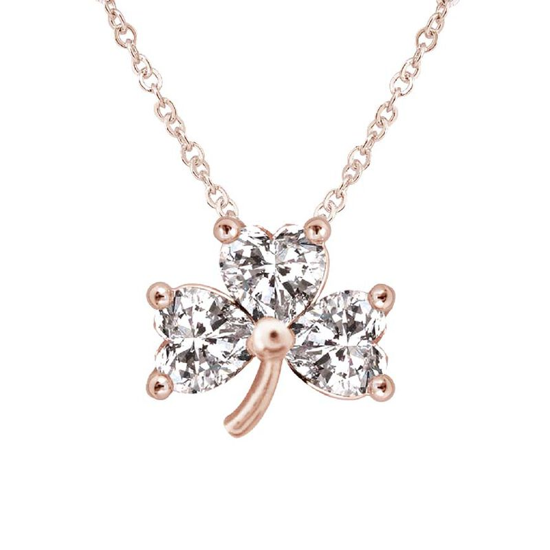 Rose Plated Shamrock Pendant With 3 Clear Crystal Stones