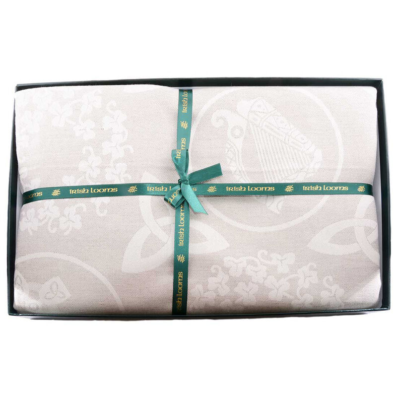 Natural Damask Irish Linen Tablecloth 54''x70'' - Presented in a Box
