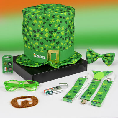 St. Patricks Day Accessory Pack With All Over Ireland Shamrock Design