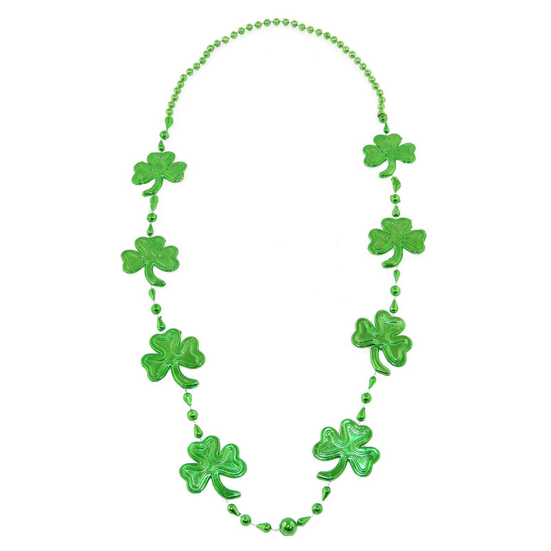 All Green Plastic Bead Necklace With Shamrock Design