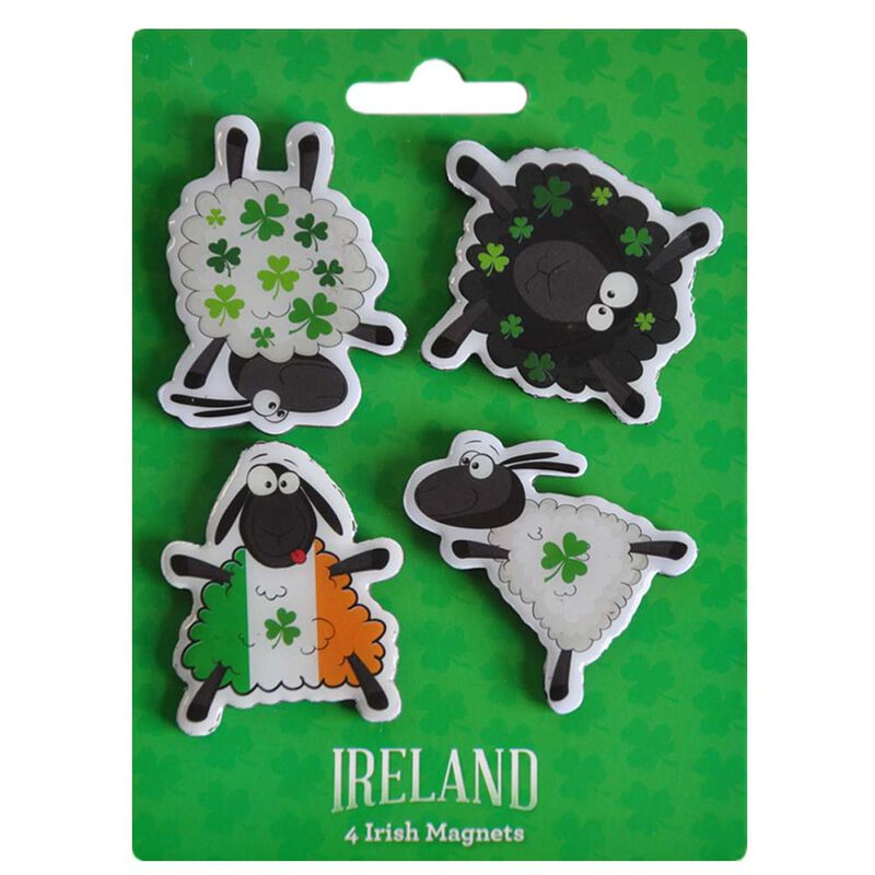 4 Pack Of Magnets With Dancing Shamrock Designed Sheep