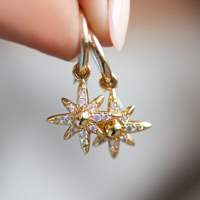 Gold Plated Newbridge Silverware Star Earrings With Clear Cubic Zirconia