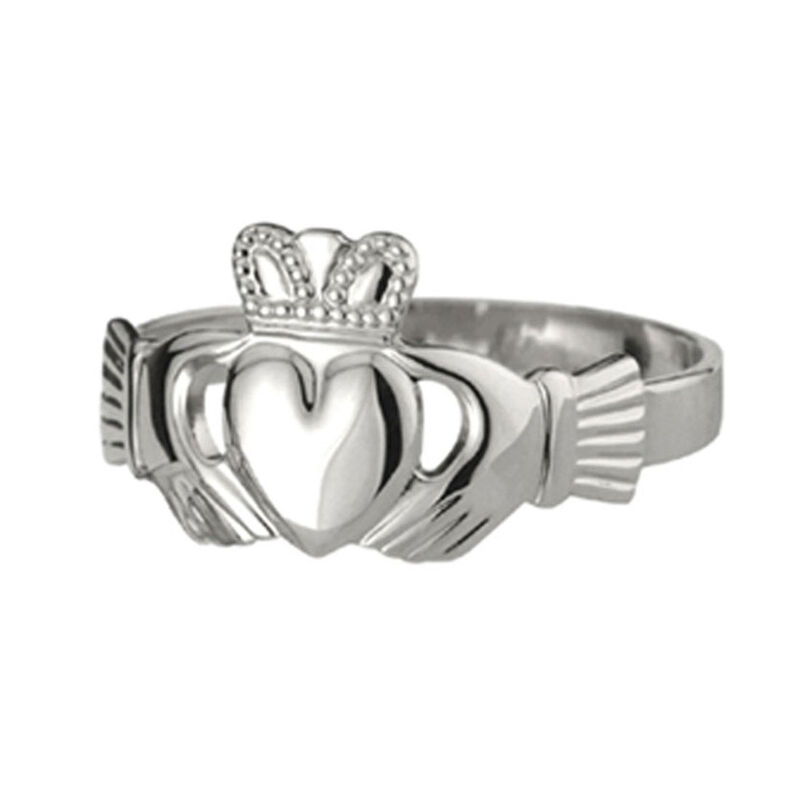 Medium-Sized Solvar Claddagh Ring With Puffed Heart  Hallmarked Sterling Silver