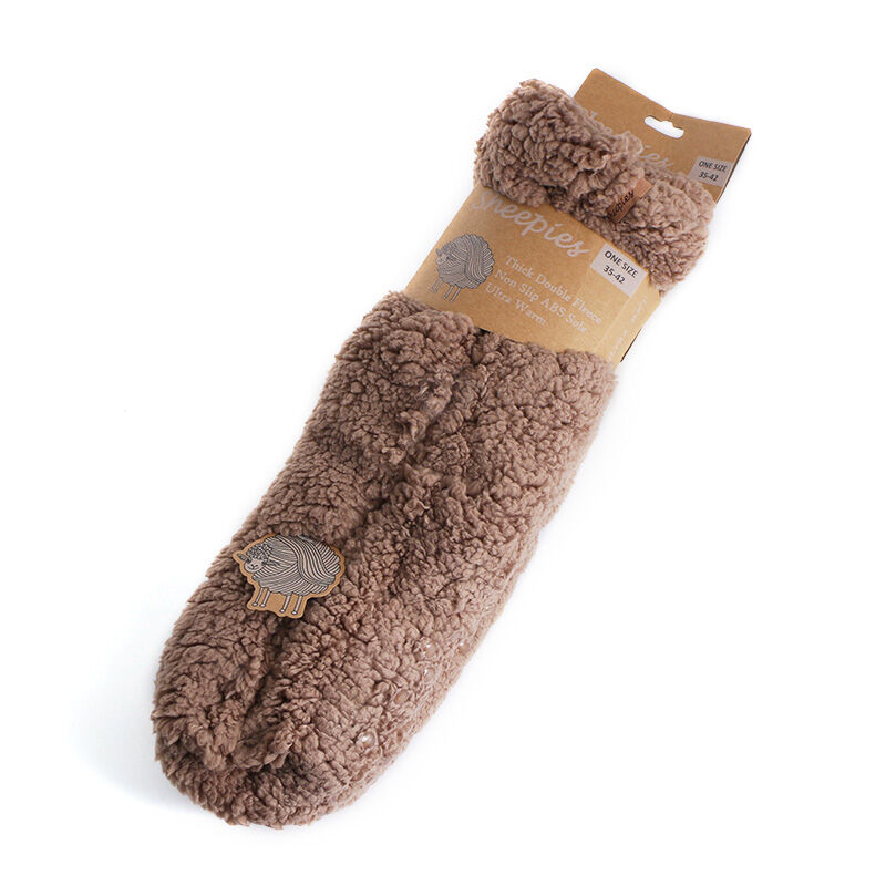 Sheepies Ultra Warm Non-Slip Woolly Slipper Socks Brown Colour