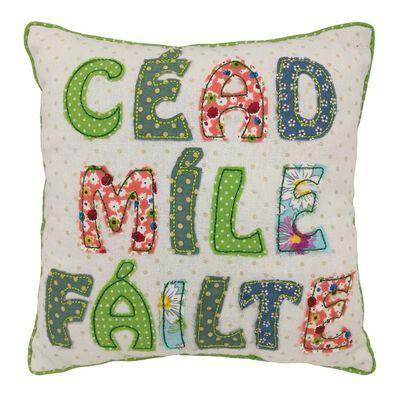 "10"" Square Patchwork Applique Cushion Cead Mile Failte Design"