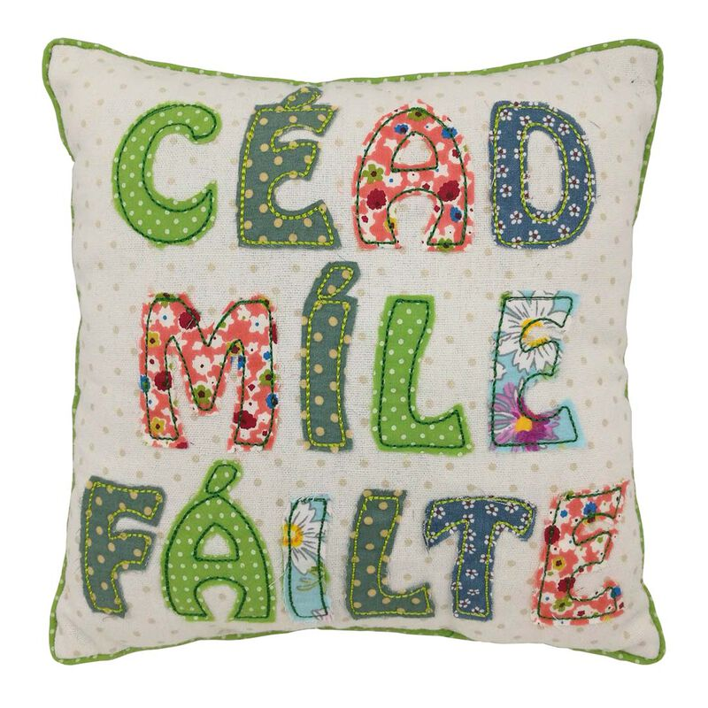 "10"" Square Patchwork Appliqué Cushion Céad Míle Fáilte Design"