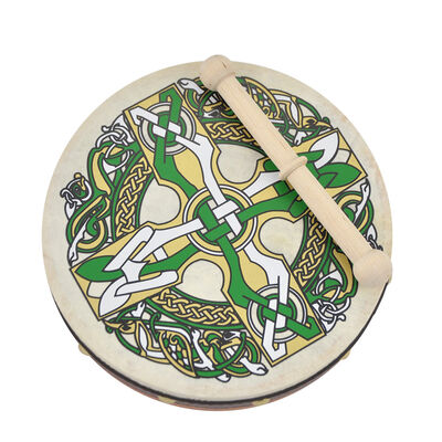 "8"" Bodhran With Celtic Cross Design"