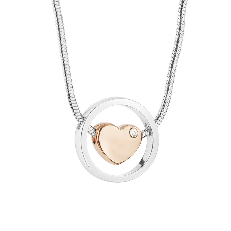 Newbridge Silverware Silver Plated Pendant With Rose Gold Plated Heart And Clear Stone