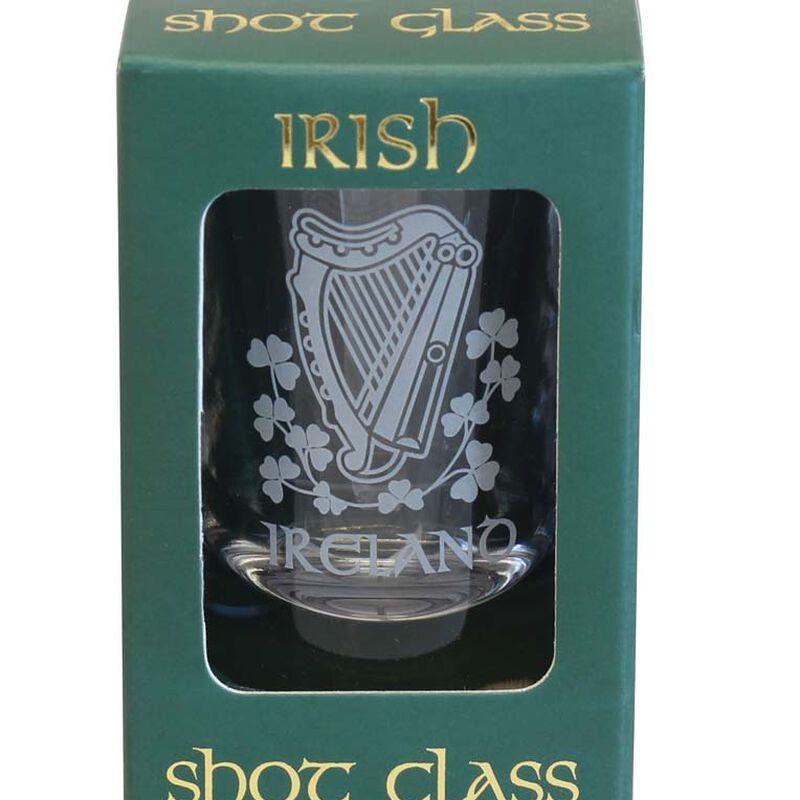 Boxed Irish Shot Glass With Harp And Shamrock Design