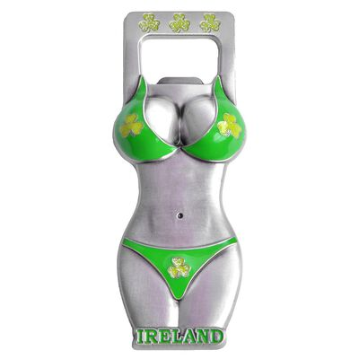 Metal Green Ireland Bikini Bottle Opener Magnet With Shamrock Details