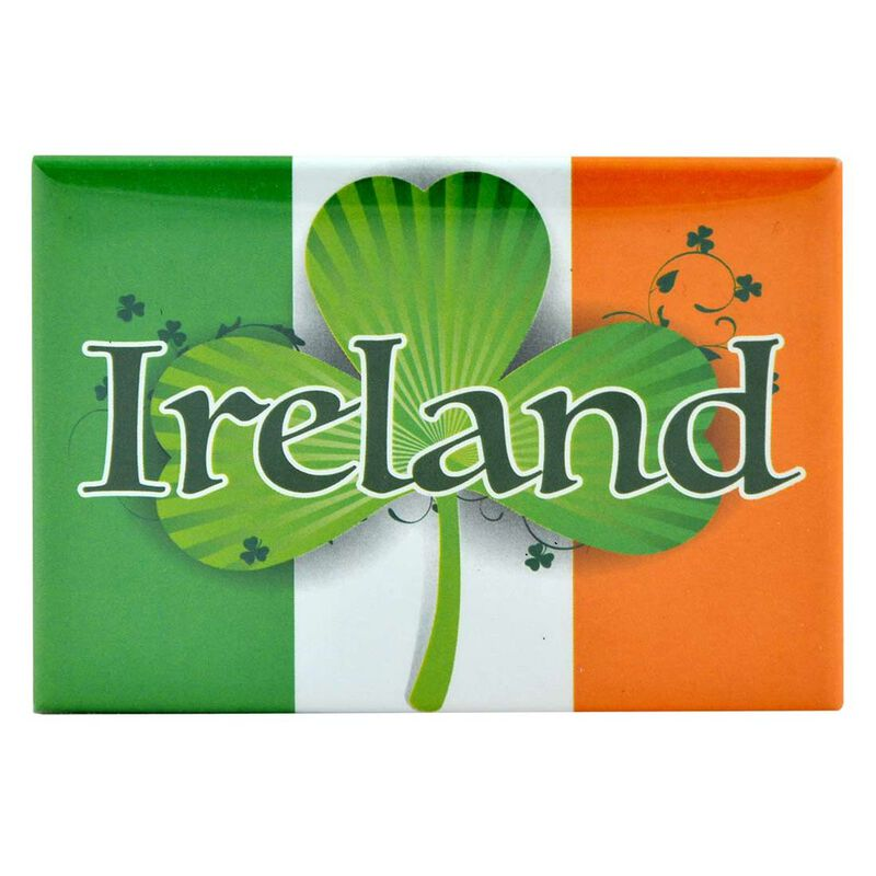 Tricolour Magnet With Ireland Text  Shamrock Symbol Design And Irish Map