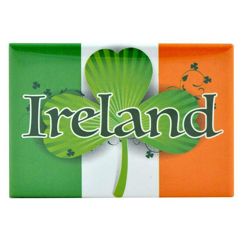 Tricolour Magnet With Ireland Text  Shamrock Symbol Design And Irish Map