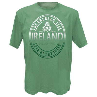 Green Grindle Designed T-Shirt With Ireland The Emerald Isle Luck O' The Irish Text