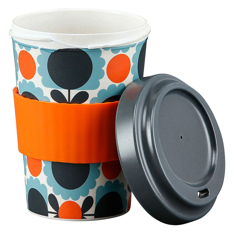 Orla Kiely Scallop Flower Sky Designed Bamboo Travel Cup, 500ml